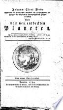 Johann Elert Bode, Astronom der Königlichen Akademie der Wissenschaften und Mitglied der Gesellschaft Naturforschender Freunde in Berlin, Von dem neu entdeckten Planeten