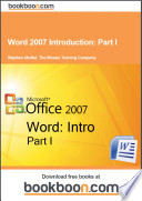 Word 2007 Introduction  Part I