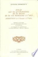 Essai sur les probabilités de la durée de la vie humaine (1746)