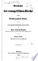 Geschichte der evangelischen Kirche in dem Grossherzogthum Baden