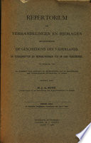 Repetorium Der Verhandelingen en Bijdragen Betreffende de Geschiedenis Des Vaderlands