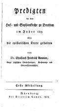 Predigten in der Hof- und Sophienkirche zu Dresden im Jahre 1813-[1814] gehalten