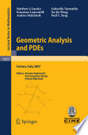 Geometric Analysis and PDEs