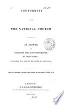 Conformity With The National Church An Answer To Records For Non Conformity By J Locke Publ In A Life Of Locke By Lord King book