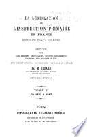 La l  gislation de l instruction primaire en France depuis 1789 jusqu    nos jours  1833 1847
