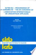 Actes Du 5e Congr  s de L Association Internationale de Linguistique Appliqu  e