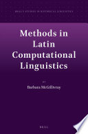 Methods in Latin Computational Linguistics