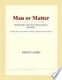 Man Or Matter Book PDF