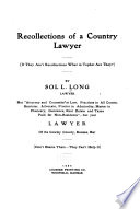 Recollections of a Country Lawyer