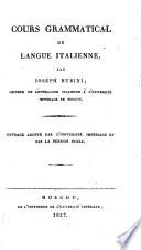 Cours grammatical de la langue italienne