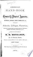 American Hand Book Of Chemcial Physical Apparatus