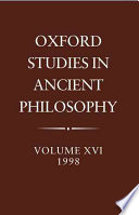 Oxford Studies in Ancient Philosophy  Volume XVI  1998