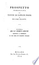 Prospetto nominativo di tutte le lingue note e dei loro dialecti