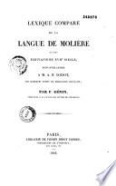 Lexique compar   de la langue de Moli  re et des   crivains du XVIIe si  cle