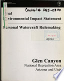 Glen Canyon National Recreation Area N R A Personal Watercraft Rule Making