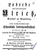 Lobrede auf den heiligen Ulrich