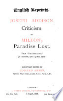 Criticism on Milton s Paradise Lost