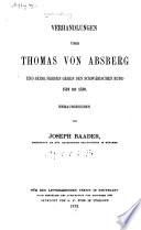 Verhandlungen über Thomas von Absberg und seine Fehden gegen den Schwäbischen Bund 1519-153O.