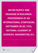 Water Supply and Drainage in Buildings