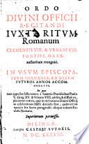 Ordo Divini Officii Recitandi Ivxta Ritvm Romanvm
