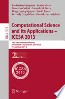 Computational Science And Its Applications Iccsa 2013