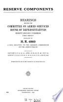 Reserve Components Hearings Before 82 1 Pursuant To H R 4860 January 8 August 22 1951