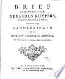 Brief aan ... Gerardus Kuypers ...