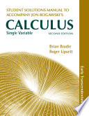 Single Variable Calculus  Early Transcendentals Student s Solutions Manual