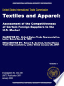 Textiles and Apparel: Assessment of the Competitiveness of Certain Foreign Suppliers to the U.S. Market, Inv. 332-448
