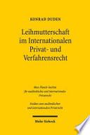 Leihmutterschaft im Internationalen Privat- und Verfahrensrecht