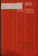Annual Report of the Mississippi Department of Archives and History