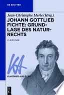 Johann Gottlieb Fichte Grundlage Des Naturrechts