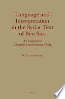 Language and Interpretation in the Syriac Text of Ben Sira