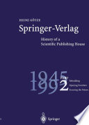Springer Verlag History Of A Scientific Publishing House book