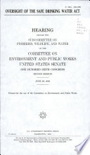 Oversight Of The Safe Drinking Water Act