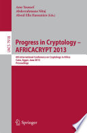 Progress in Cryptology -- AFRICACRYPT 2013