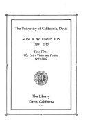 Minor British Poets, 1789-1918: The later Victorian period, 1870-1899