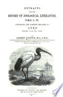 Extracts from the Record of Zoological Literature, Vols. I-VI