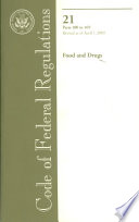 Code of Federal Regulations  Title 21  Food and Drugs Book PDF