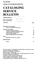 Cataloging Service Bulletin  Library of Congress  Book PDF