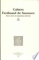 Cahiers Ferdinand de Saussure