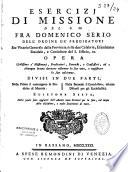 Esercizi di Missione     Opera utilissima a Missionari  Predicatori  Parrochi