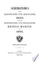 Schematismus für das kaiserliche und königliche Heer und für die kaiserliche und königliche Kriegsmarine