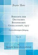 Berichte der Deutschen Botanischen Gesellschaft, 1917, Vol. 35