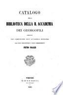 Catalogo della biblioteca della R. Accademia dei Georgofili