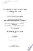 Das Orchester der ersten deutschen Oper  Hamburg  1678 1738