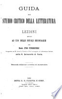 Guida allo studio critico della letteratura