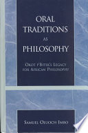 Oral Traditions as Philosophy