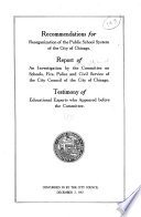 Recommendations for Reorganization of the Public School System of the City of Chicago Book PDF