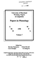 University of Maryland Working Papers in Linguistics